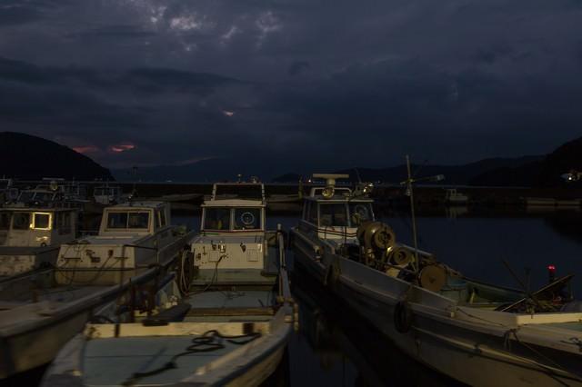 夜の港の写真