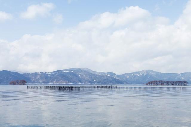 湖北町から見た琵琶湖の景色の写真