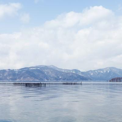 「湖北町から見た琵琶湖の景色」の写真素材
