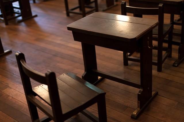 木製の机の写真