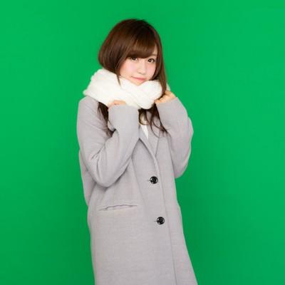 「マフラーを巻いたコート女子(グリーンバック)」の写真素材