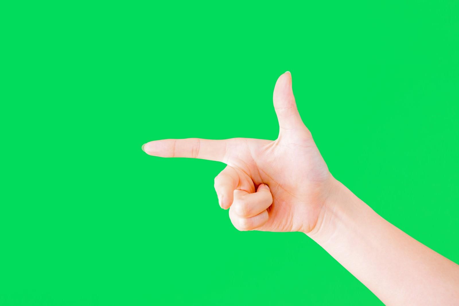 「フレミングの右手の法則(グリーンバック)」の写真[モデル:MOA]
