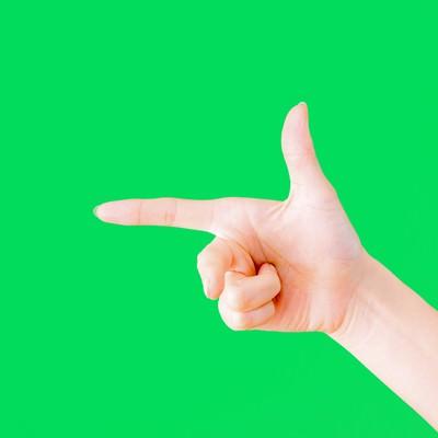 「フレミングの右手の法則(グリーンバック)」の写真素材