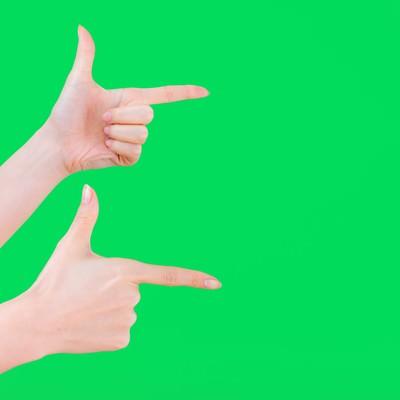 「【ブリーンバック】両手でゲッツポーズ」の写真素材