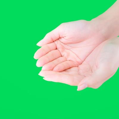「両手で何かをすくう手(グリーンバック)」の写真素材