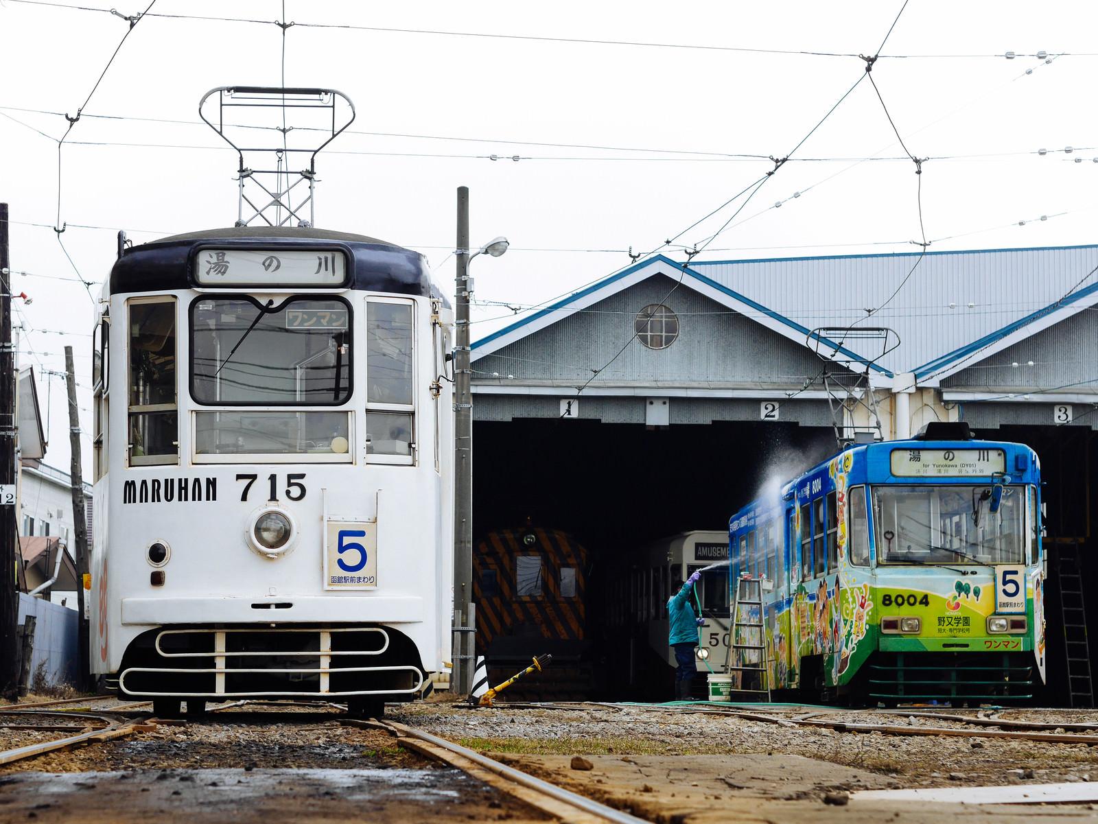 「路面電車と車庫」の写真