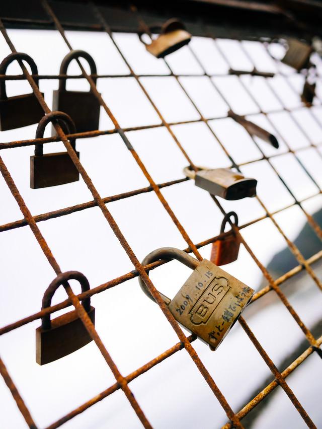 金網に留まるメッセージ入りの南京錠の写真