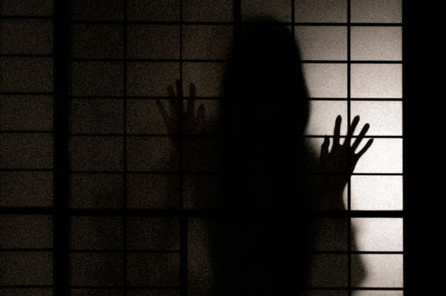障子の越しに中を覗こうとする女性のシルエットの写真