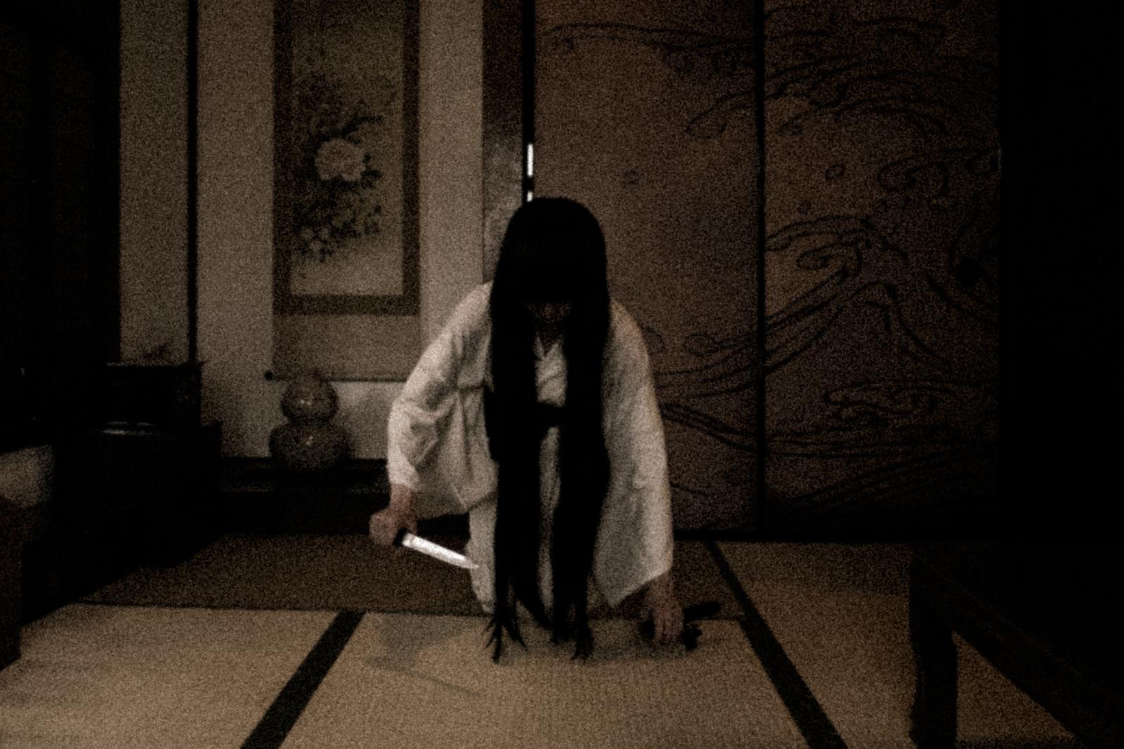 「刃物を持った幽霊が現れた」の写真[モデル:緋真煉]
