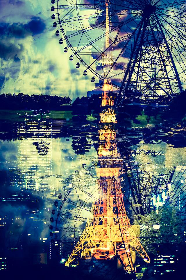 東京タワーと観覧車の写真