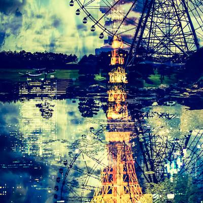 「東京タワーと観覧車」の写真素材
