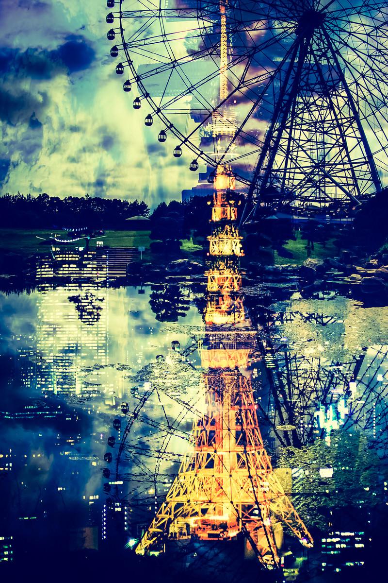 「東京タワーと観覧車」の写真