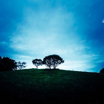 「月の見える丘」の写真素材