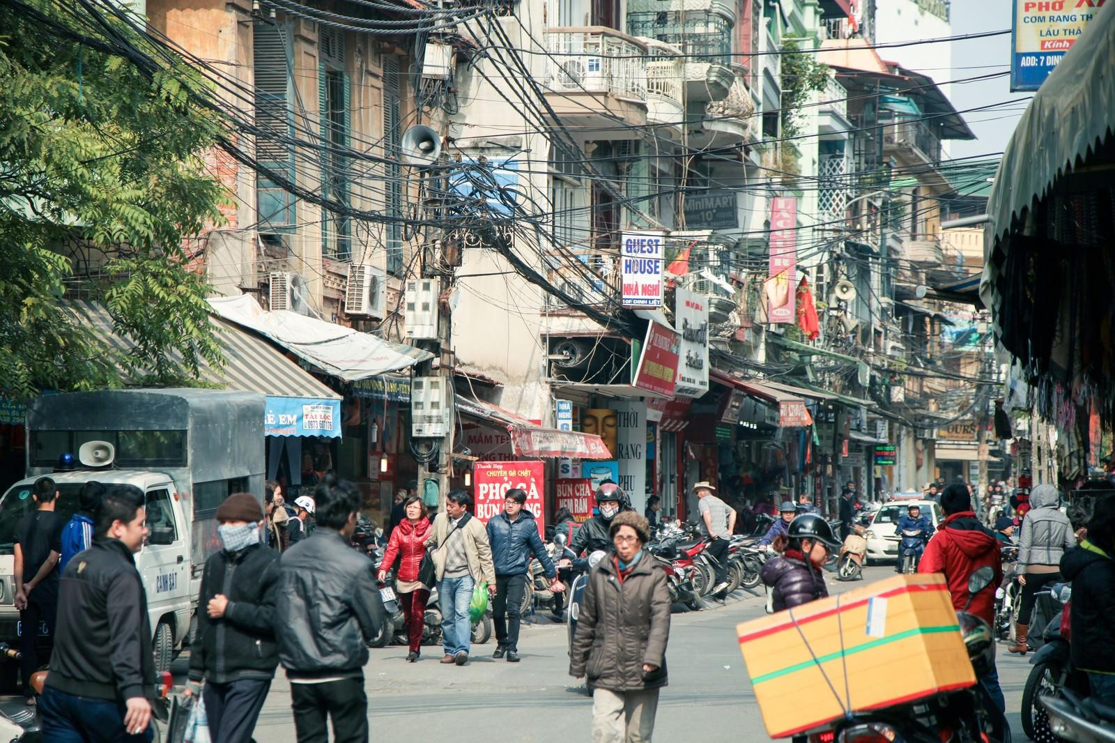 「ハノイ市街の通り」の写真