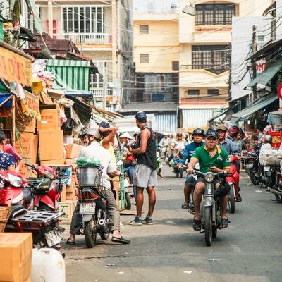 「ベトナム(ホーチミン)の下町マーケット」の写真素材