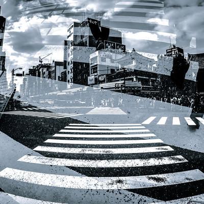 下町と交差点(フォトモンタージュ)の写真