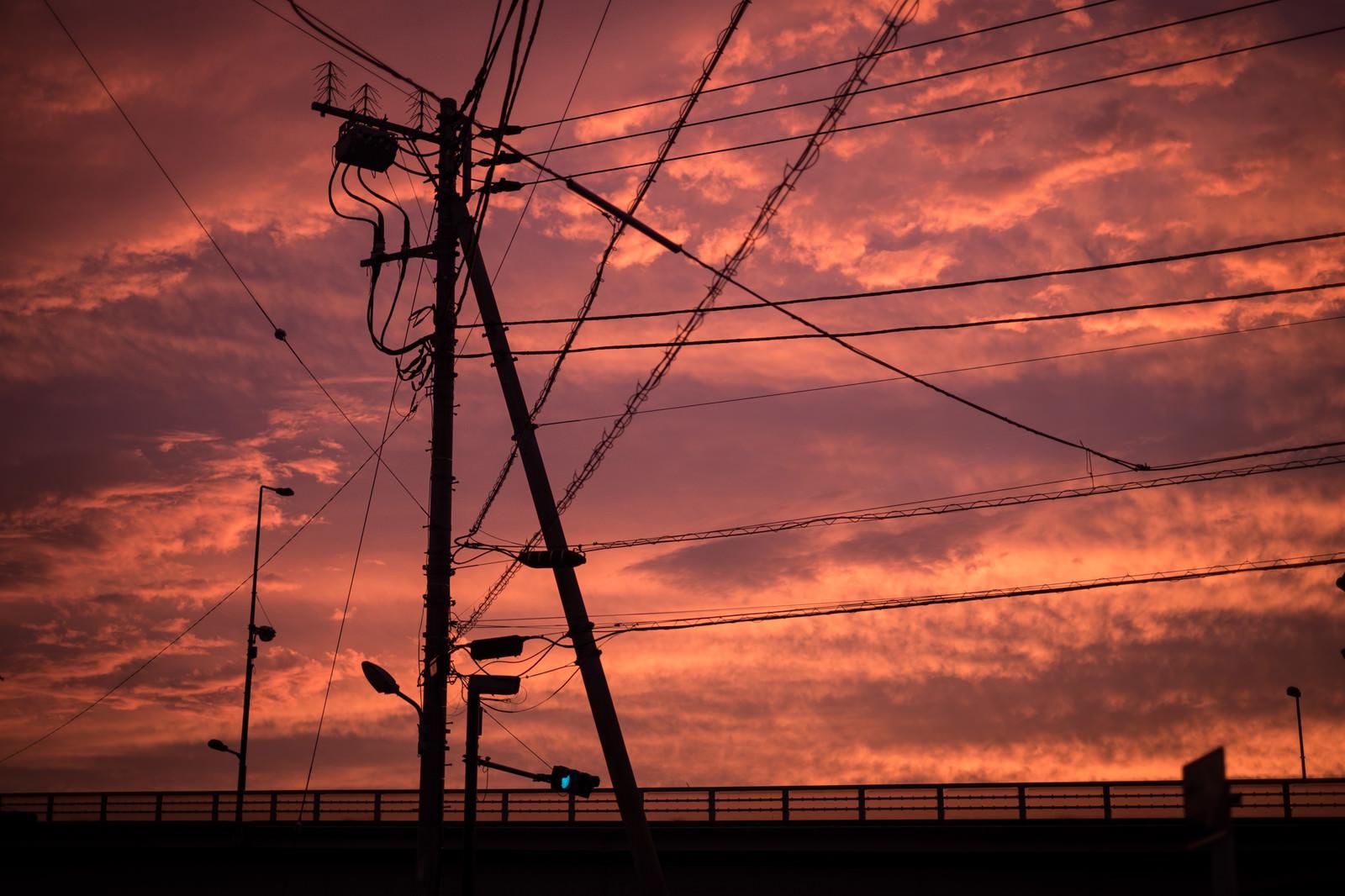 「夕暮れと電柱のシルエット」の写真