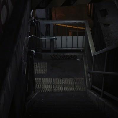 「不気味な階段(歩道橋)」の写真素材