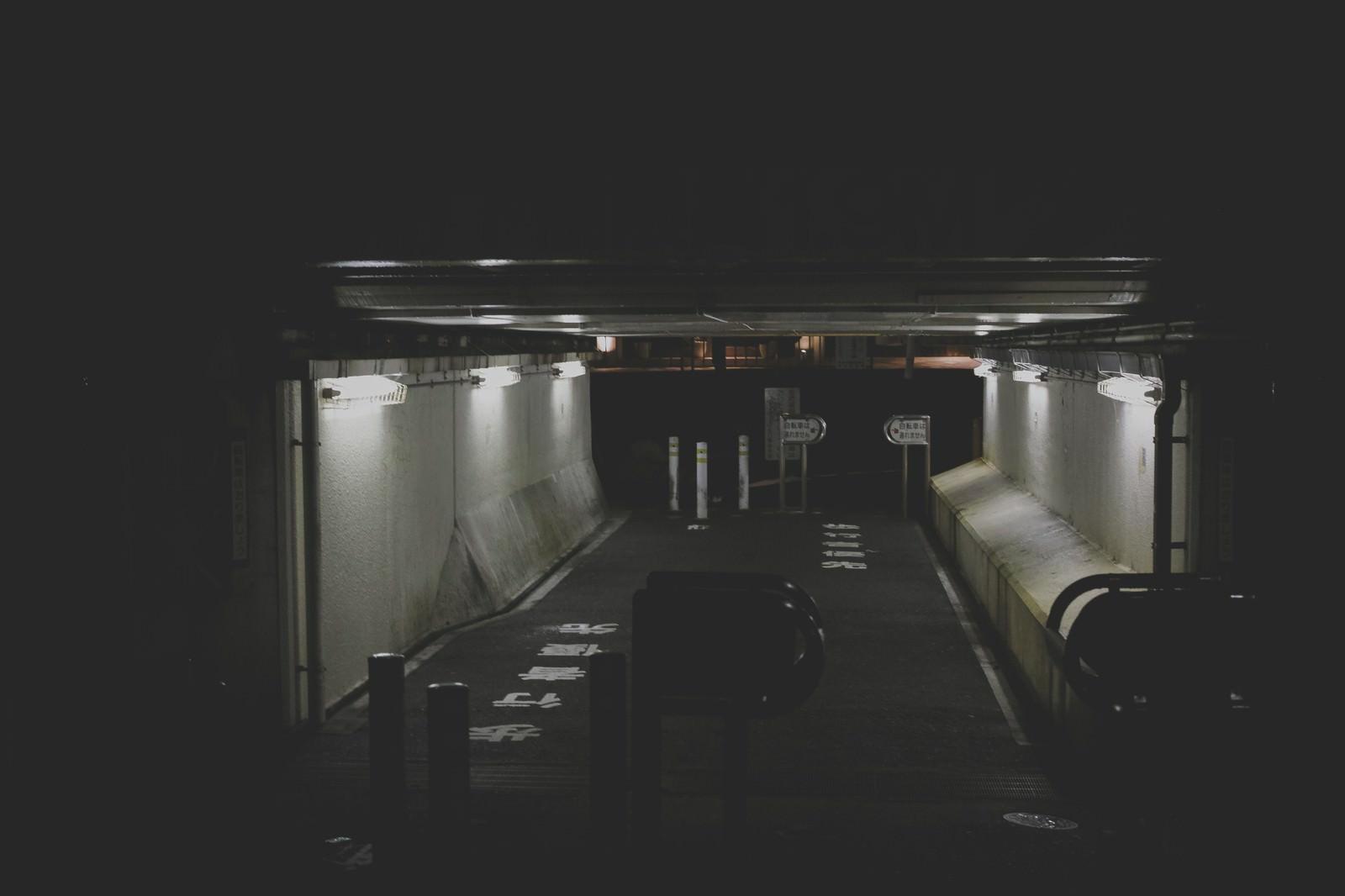 「薄暗い高架下の通路」の写真