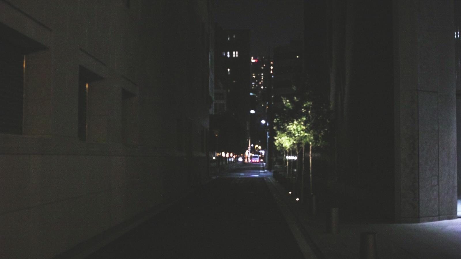 「寝静まったビル街」の写真