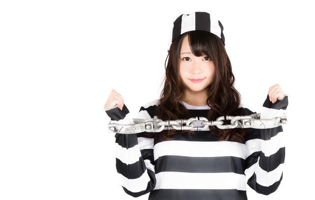 美女に囚人服を着せて鎖で拘束しましたの写真