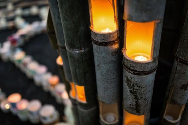 竹灯籠「ボシ灯ろうまつり」の写真