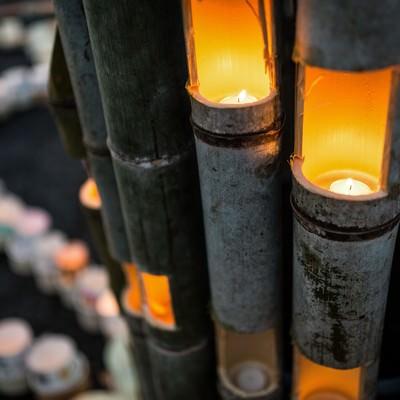 「竹灯籠「ボシ灯ろうまつり」」の写真素材