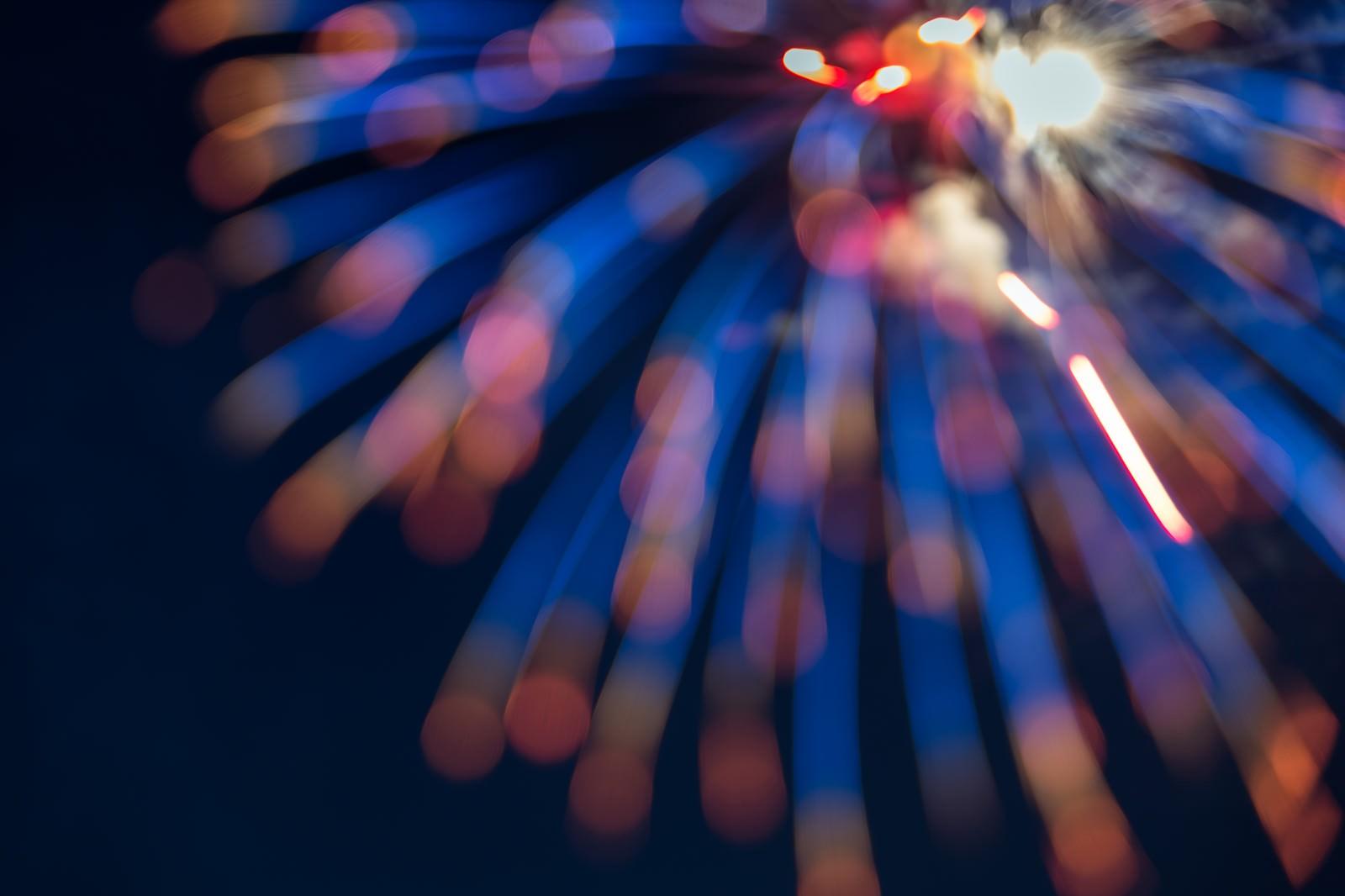 「孔雀の羽のように広がる花火」の写真