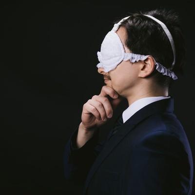 「妄想具現化アイマスクを着用するドイツ人ハーフ」の写真素材
