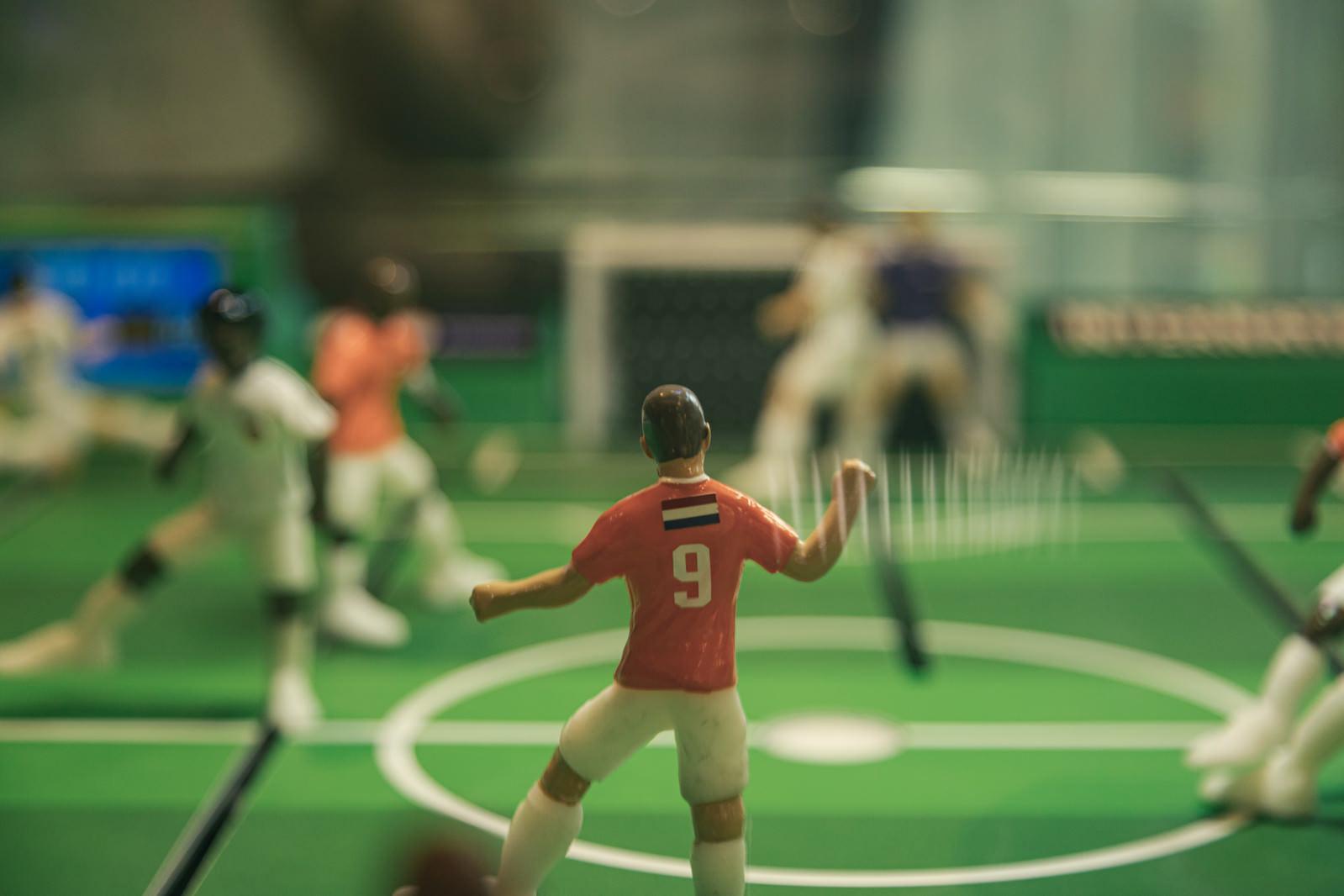 「サッカーボードゲームの9番」の写真