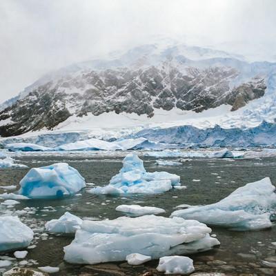氷の壁と流氷の写真
