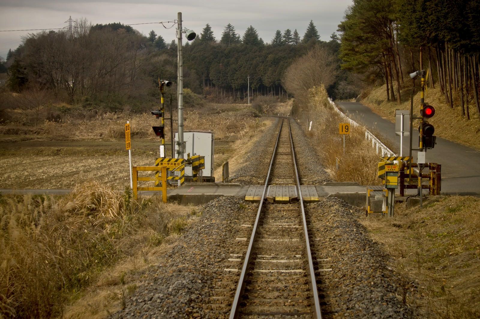 「田舎の道と線路」の写真