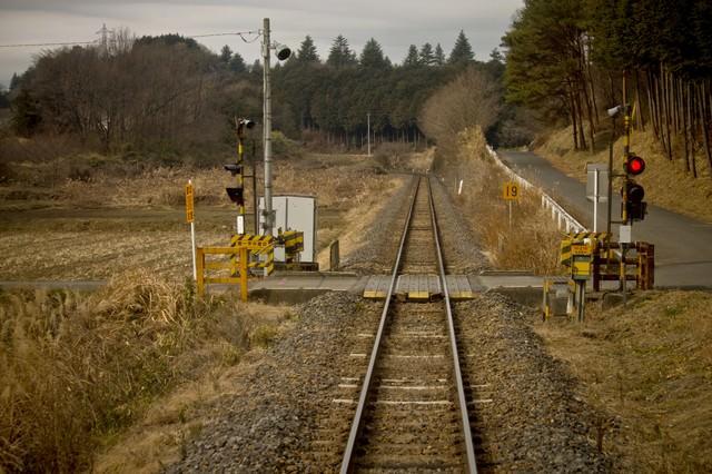 田舎の道と線路の写真