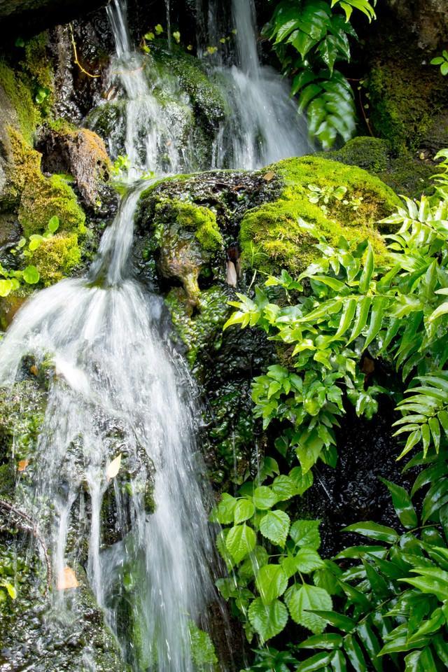 岩場を流れる水の写真