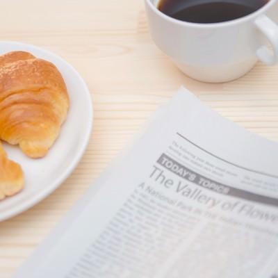 「パンとコーヒータイム」の写真素材