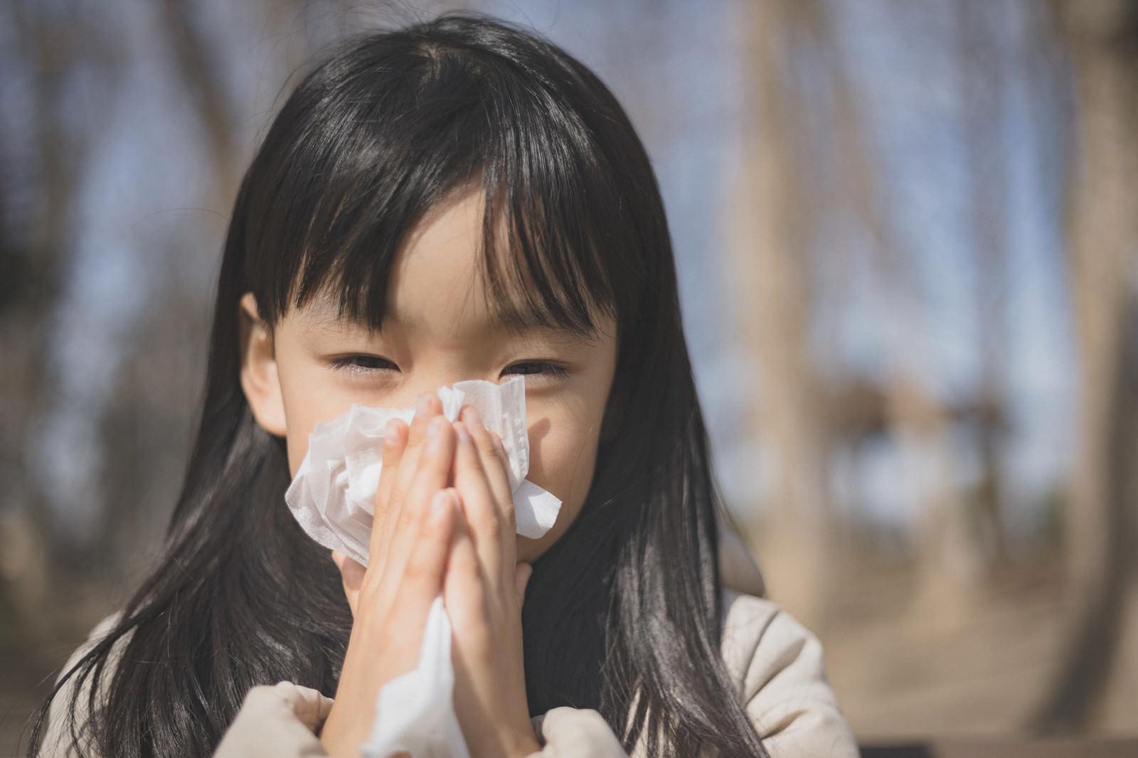 「ティッシュで鼻をかむ女の子」の写真[モデル:あんじゅ]