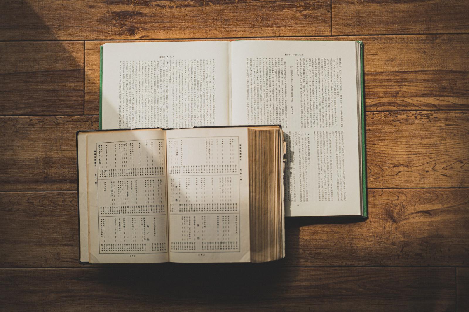 「陽射しを浴びる聖書」の写真