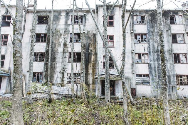 炭鉱住宅の廃墟の写真