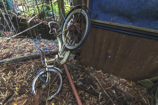 廃墟にあった自転車の写真