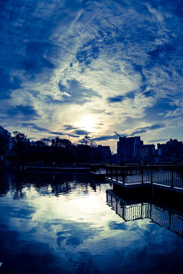 公園の池に映る街並みと空の風景の写真