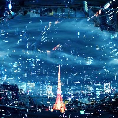 東京タワーの灯(フォトモンタージュ)の写真