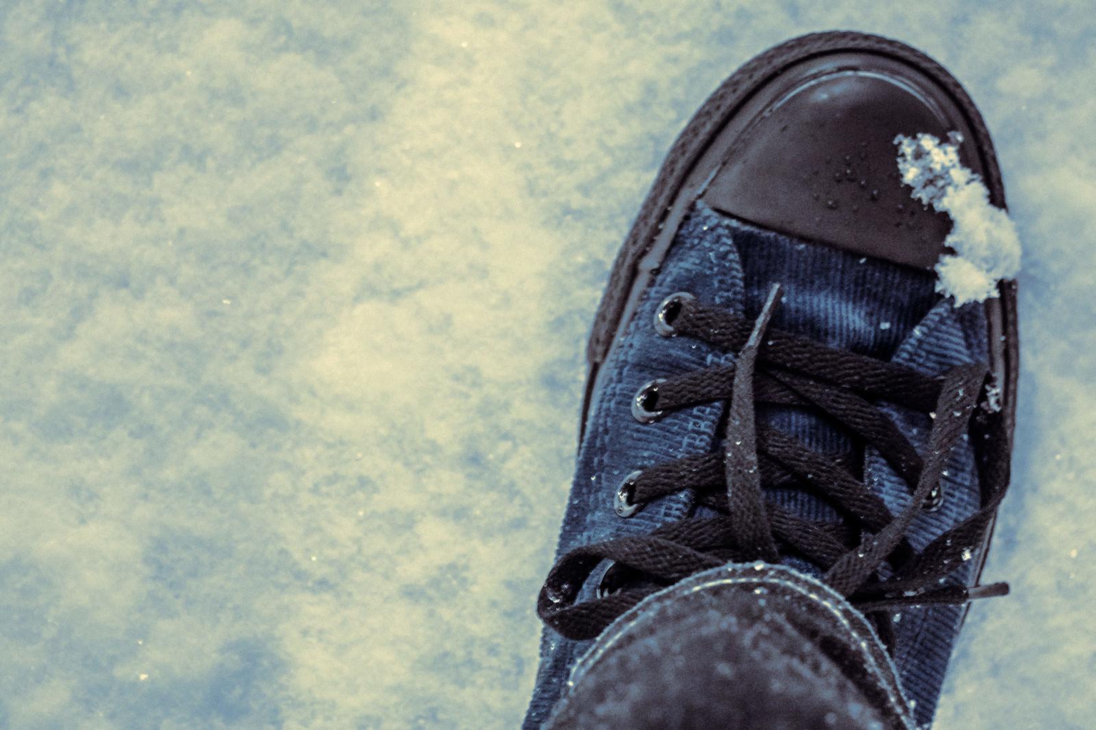 「雪の中を歩く」の写真