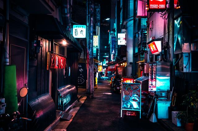 新橋の夜(裏路地にある飲み屋街)の写真