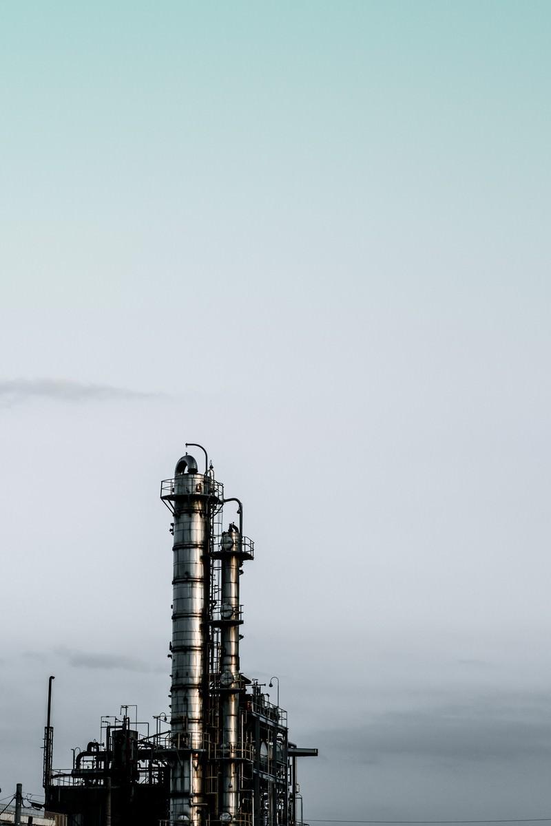 「曇り空と工場」の写真