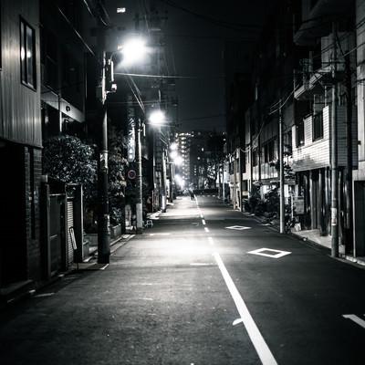 「暗い道」の写真素材