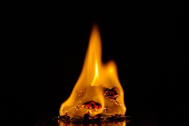 メラメラと燃える炎の写真