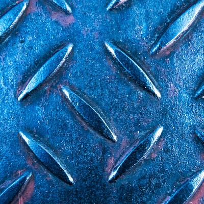 「青いメタルの足場」の写真素材