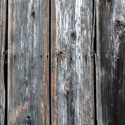 釘が打ち込まれた木の柵の写真