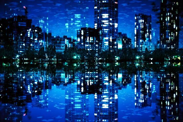 夜景と不忍池(フォトモンタージュ)の写真