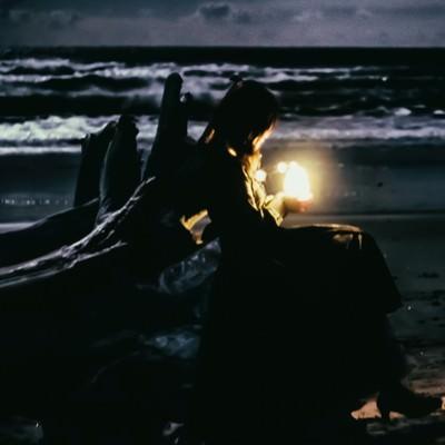 「流木と暗闇を照らす灯り」の写真素材